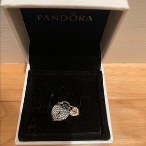 Pandora Pave heart padlocks dangle charm